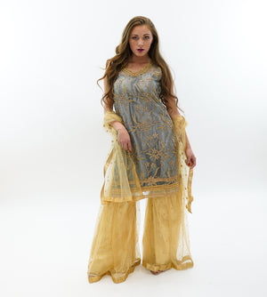 Fancy Embroidered Net And Silk Grey & Gold Sharara Suit