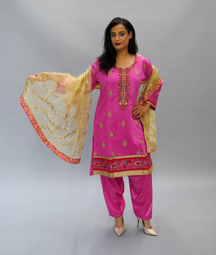 Embroidered Silk Frosted Tulip Pink Salwar Suit