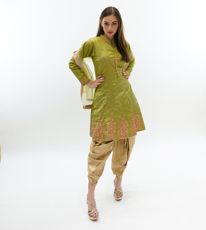 Silk Fancy Embroidered Olive Green Salwar Suit