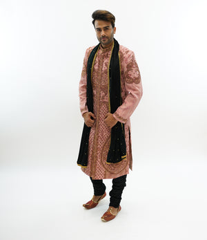 Silk Brocade Salmon Pink  Embroidered & RhineStone Work  Sherwani