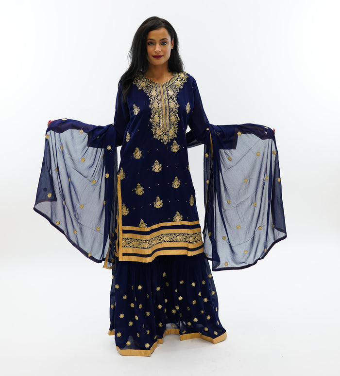 Fancy Embroidered Silk Space Blue Sharara Suit