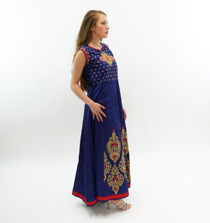 Silk Midnight Blue Embroidered Gown With Red Trim