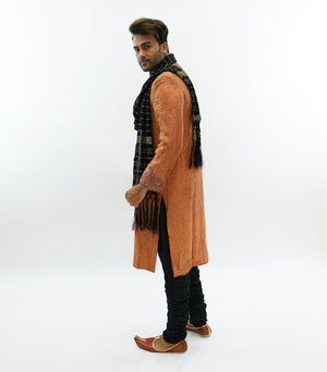 Silk Brocade Tiger Orange Embroidered Sherwani