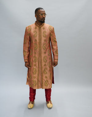 Silk Brocade Coral Peach Embroidered Sherwani