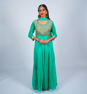 Mint Green Anarkali Suit with Gold Embroidery