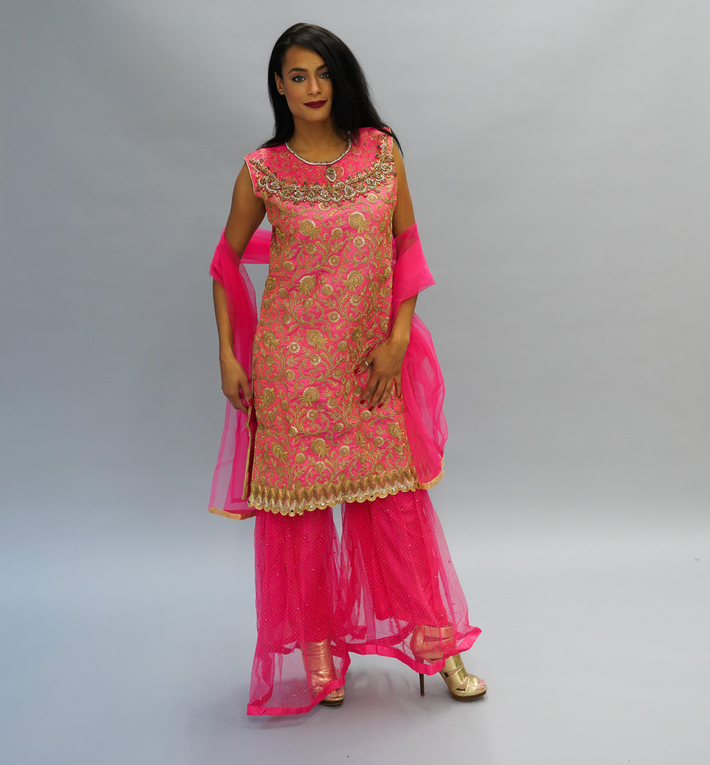 Heavy Embroidered Silk Coral Pink Sharara Suit