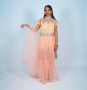 Peachy Cream Embroidered Salwar Kameez