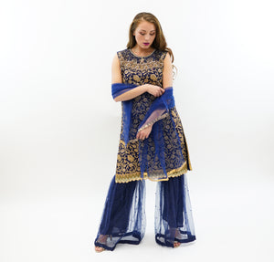 Fancy Heavy Embroidered Silk Oxford Blue Sharara Suit