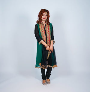 Bottle Green Black Embroidered Salwar Kameez