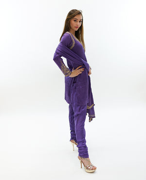 Silk Mauve Embroidered Salwar Kameez