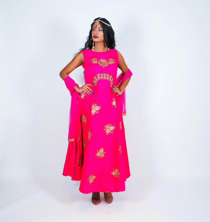 Fuchsia with Golden Embroidery Gown