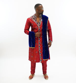 Silk Scarlet Red Embroidered & Enhanced Rhinestone Work  Sherwani