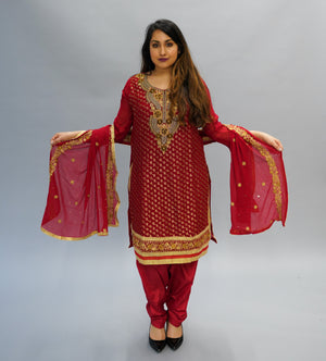 Georgette Embroidered  Cherry Red Salwar Kameez