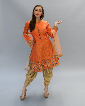 Fancy Silk Embroidered Royal Orange Salwar Suit