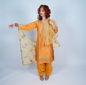 Mustard Gold Embroidered Salwar Kameez