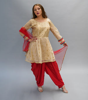 Fancy Silk Embroidered Latte Tan Gold Salwar Suit