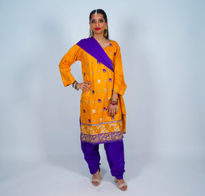 Light Orange Embroidered Salwar Kameez