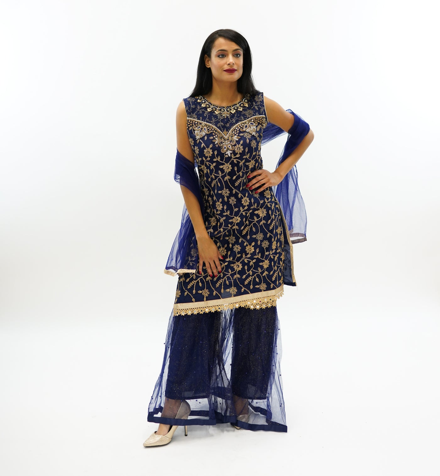 94fe29d707 Fancy Embroidered Silk Indigo Blue Sharara Suit – Heritage India ...