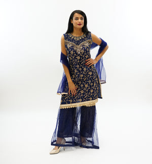 Fancy Embroidered Silk Indigo Blue Sharara Suit