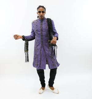 Silk Brocade Light Violet  Embroidered Sherwani