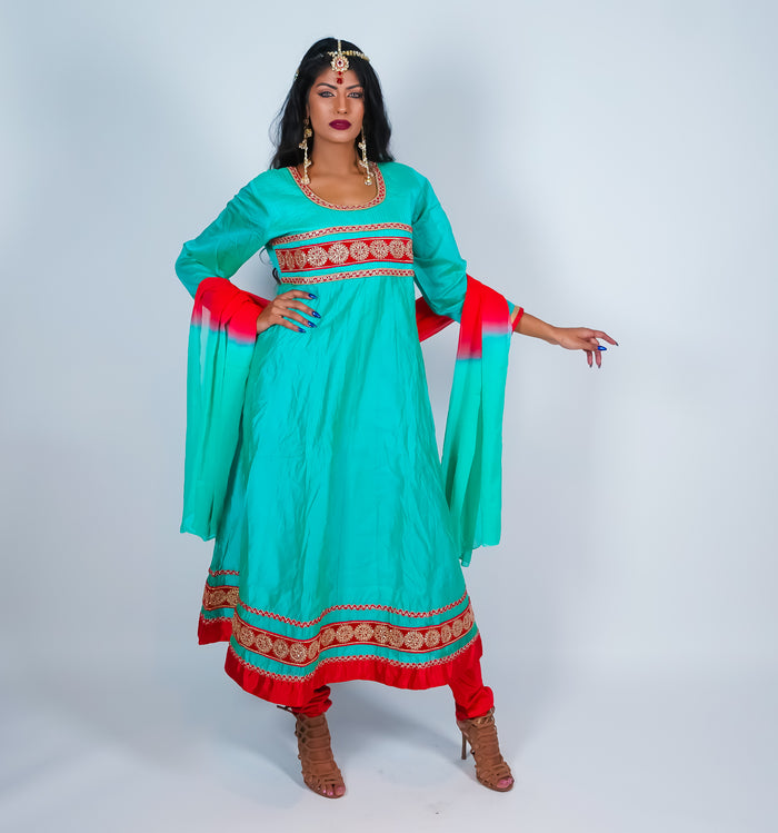 Light Turquoise with Maroon & Gold Trim Anarkali Suit