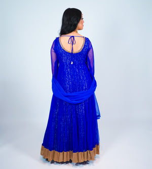 Blue with Gold Jeweled Embroidered Anarkali Suit