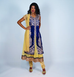 Blue & Gold with light Embroidery Anarkali Suit
