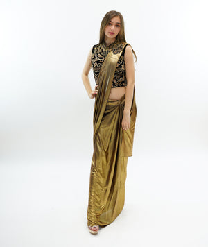 Silk Iridescent Metallic Gold Pleated Saree