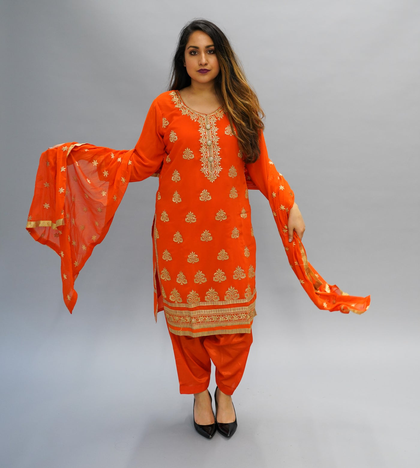 1f5a4da5b5 Silk Embroidered Bright Tiger Orange Salwar Kameez – Heritage India ...