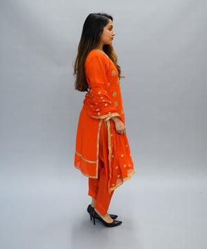 Silk Embroidered Bright Tiger Orange Salwar Kameez