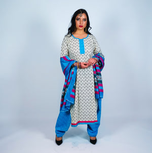 Block Print Cotton Blue & Off White Salwar kameez