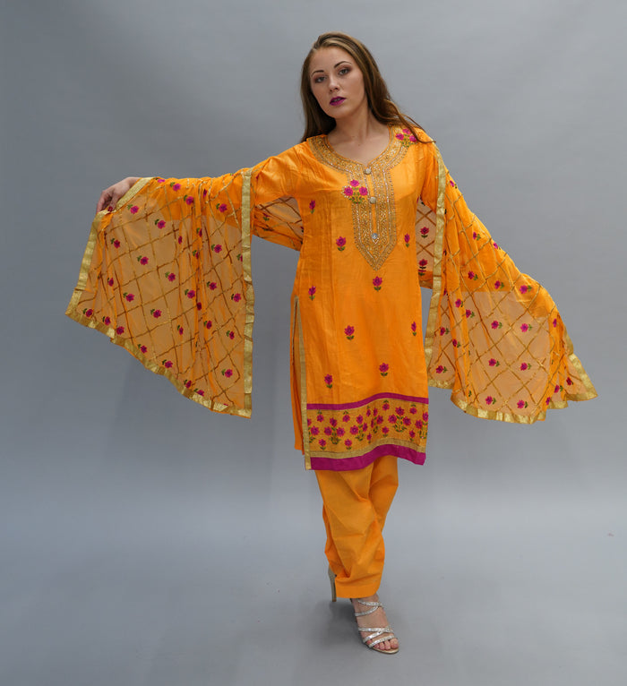 Silk Apricot Orange Embroidered Salwar Kameez