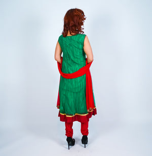 Green with Maroon Trim and Light Embroidery