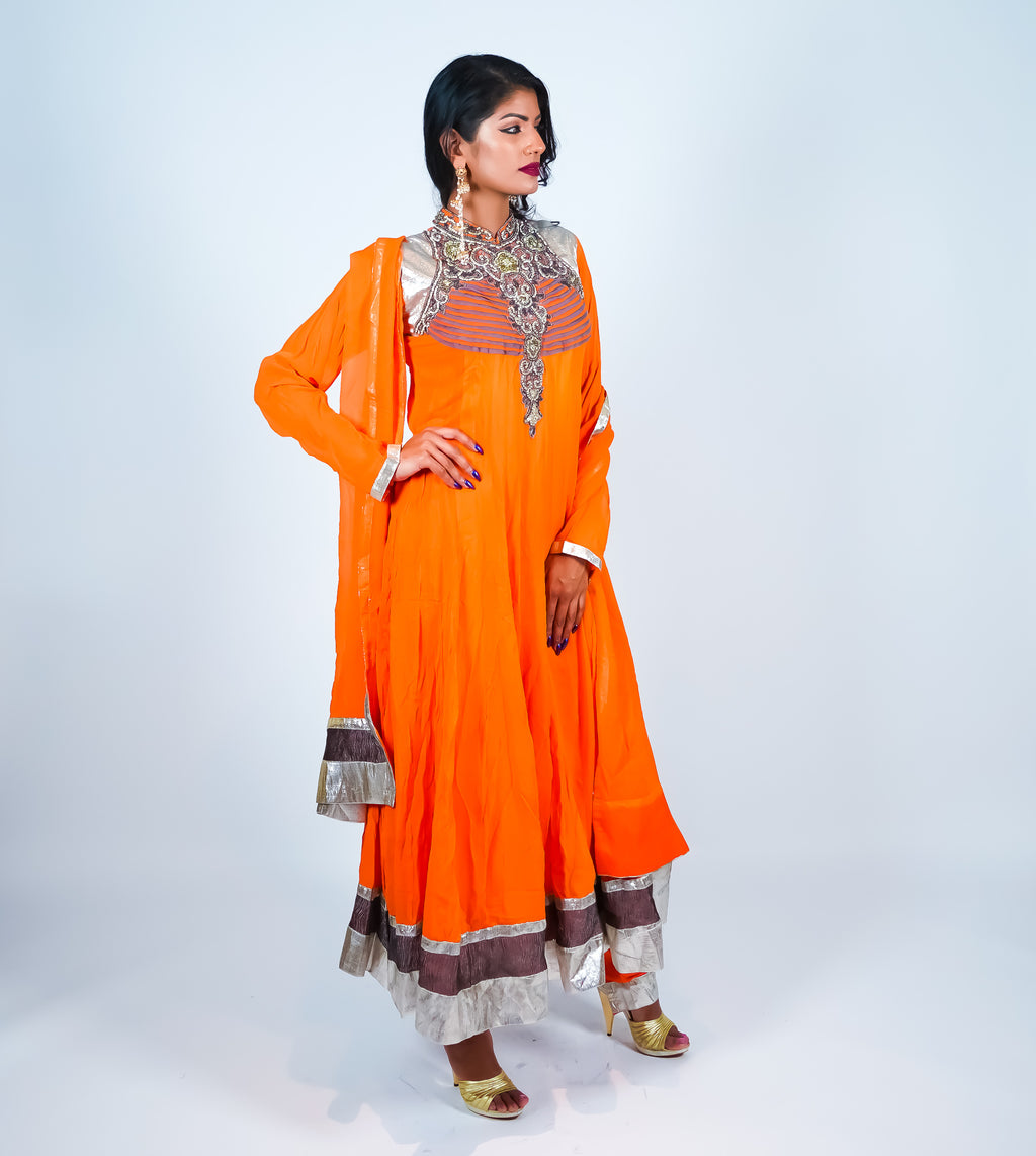 Orange with Silver Trim Embroidery Anarkali Suit