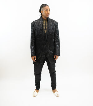 Silk Brocade Black  Sherwani / Jacket