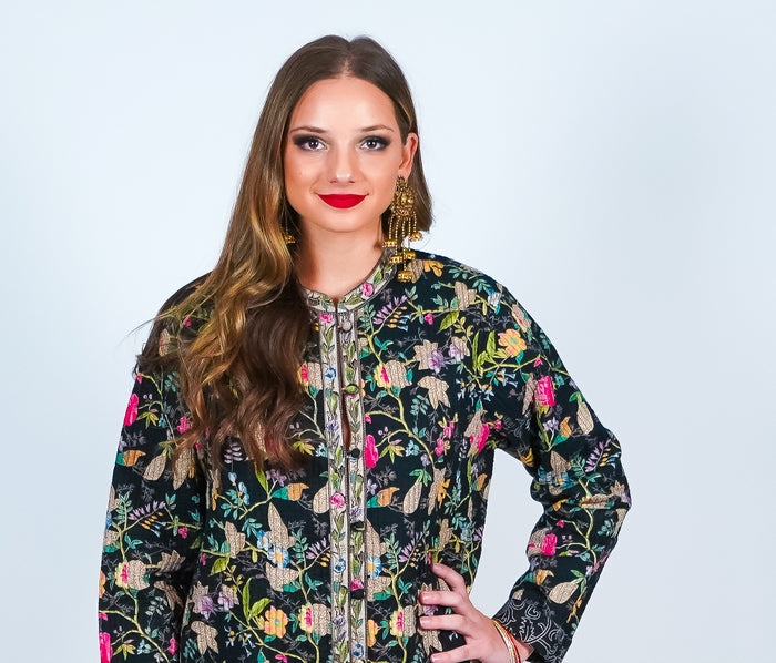 Quilted Floral Block Print Reversible Jacket