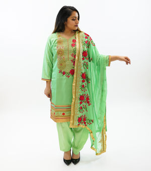 Silk Paris Green Embroidered Salwar Kameez