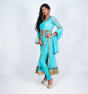 Light Sky Blue with Gold Embroidery Anarkali Suit