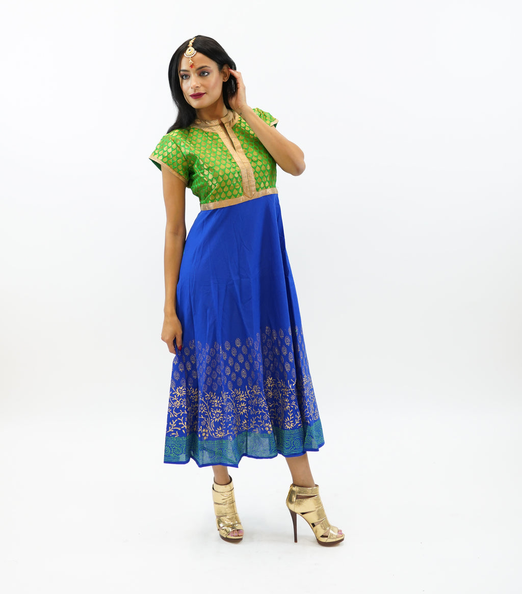 Brocade Emerald Green And Cobalt Blue Block Printed Cotton Gown