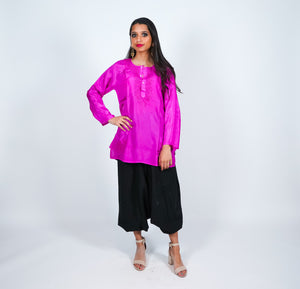 Silk  Pink Short Embroidered Kurti