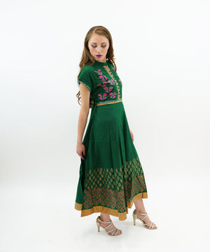 Floral BlockPrint Cotton Forest Green Gown with Gold Trim