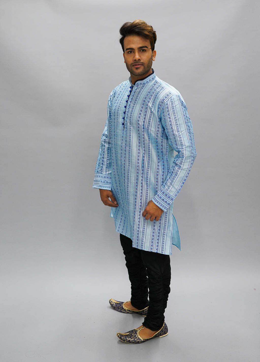 Silk Printed Arctic Blue Men's Kurta