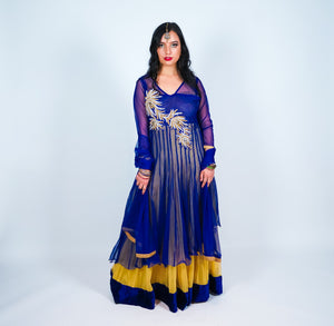 Blue, Silver And Gold Embroidery Silk Gown