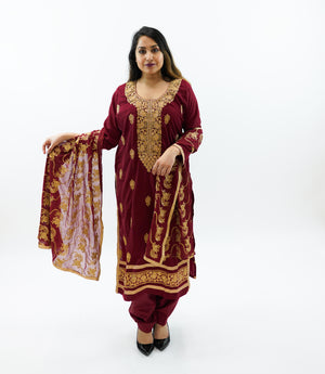Silk Embroidered Mahogany Red Salwar Kameez