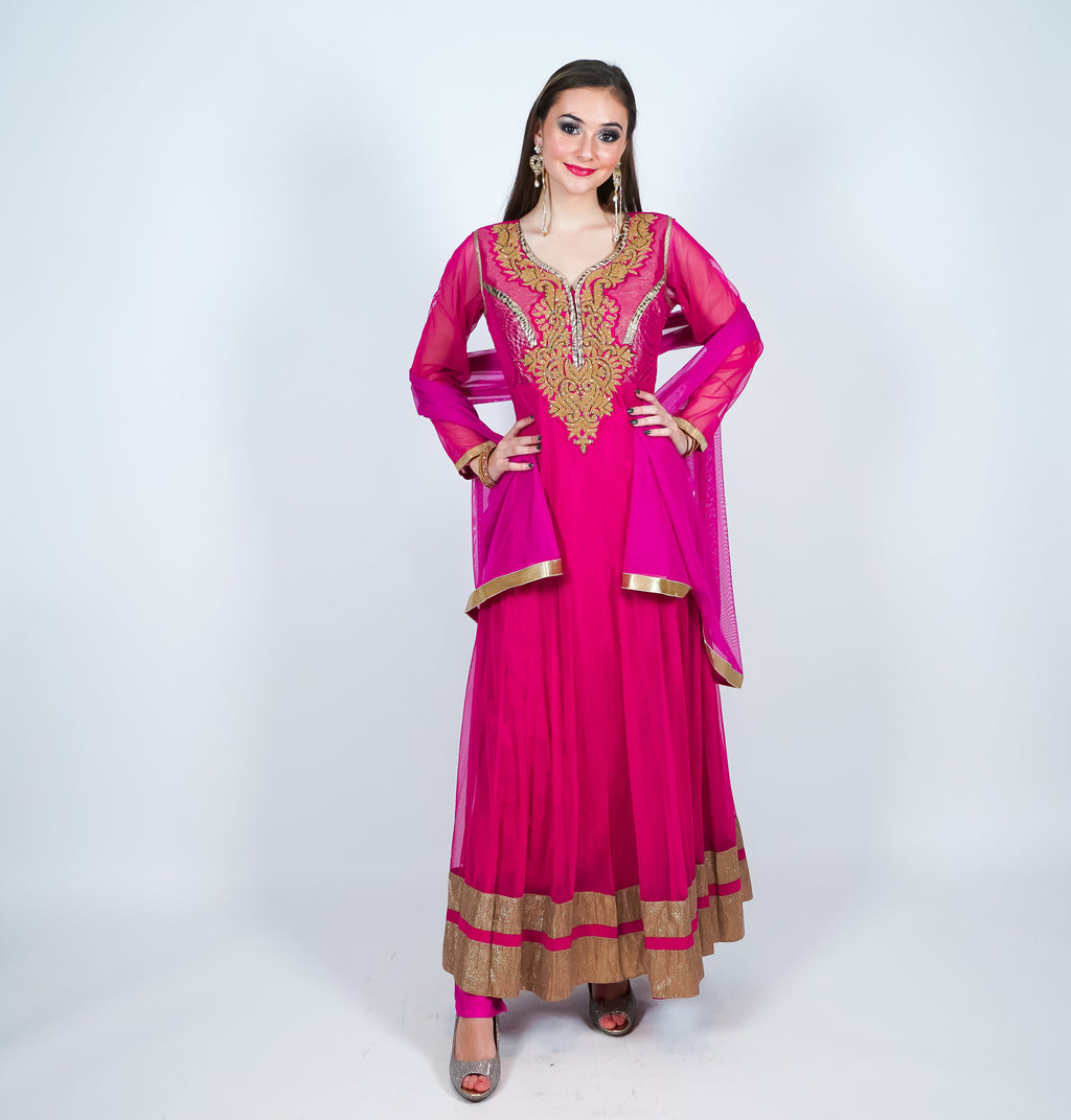 Fuchsia Pink with Gold Embroidery with Gold Trim Anarkali Suit