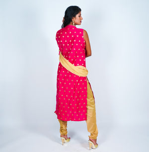 Pink with Gold Embroidery Silk Salwar Kameez