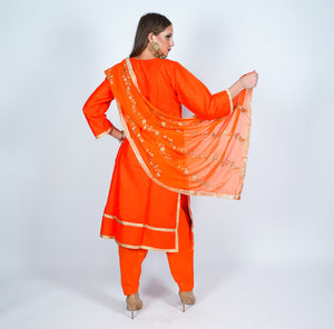 Silk Orange With Gold Embroidered Salwar Kameez