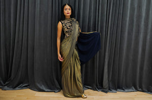 Silk Iridescent Metallic Gold With Blue Two Tone Pleated Saree