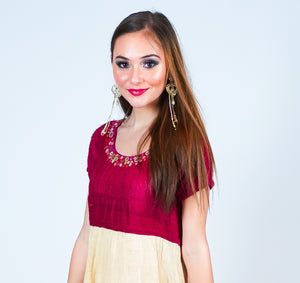 Maroon and Cream Silk Dress