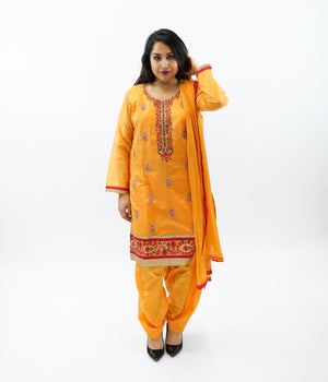 Cotton Silk Embroidered Apricot Orange Salwar Kameez